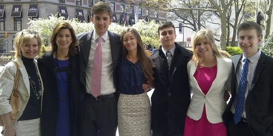 Ryan Van Wagenen with Mama and friends at church in New York City