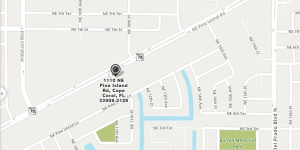 a map to 1110 NE Pine Island Road #1 Cape Coral FL 33909, otherwise known as Clear Image of SWFL
