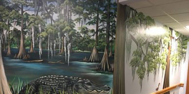 Swamp scene in a business lobby.