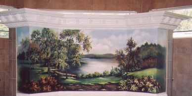landscape scene in a bathroom.