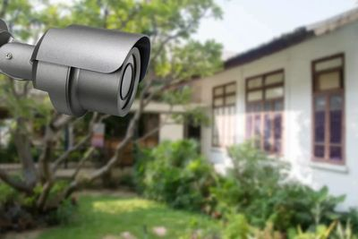 A CCTV camera up close in a residential property.