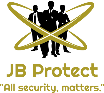 "JB Protect logo ""All Security, Matters"". 3 suited men protected by 2 golden rings."