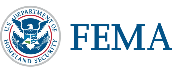 United states department of home land security logo and FEMA badge,