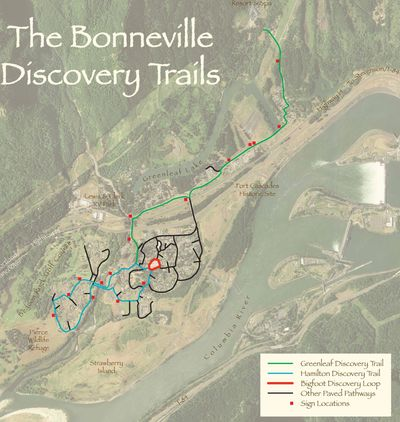 Aerial of view of North Bonneville with the trails overlaid