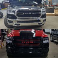 red chrome wrap, dodge ram 1500,stw wraps and graphics, chrome delete, vehicle wrap, bumper wrap
