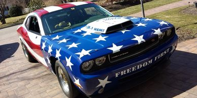 race car wrap, dodge challenger scat pack, vehicle wrap, winnabow north carolina 28479, vehicle wrap