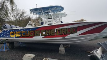 boat wrap, boat graphics, fishing boat, speedboat, center console boat wrap, wilmington nc