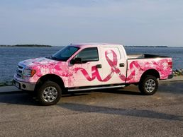 breast cancer awareness truck wrap - fight for a cure - save the ta-tas - vehicle wrap - truck wrap