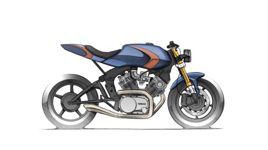 Concept sketch of Yamaha virago cafe racer XV920 custom bike built by ACE ASE Custom motorcycles