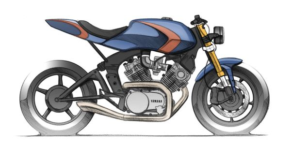 Concept sketch of Yamaha XV920 custom bike built by ACE ASE Custom motorcycles