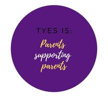 "Purple circle with writing ""TYES is: Parents supporting parents"""
