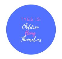 "Blue circle with writing ""TYES is: Children Being Themselves"""