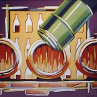 'Bottle and Barrels' by Damon Navari - Acrylic and Latex on Canvas