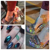 A collage of some footwear and cool nail art from Elegy.