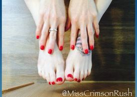The amazing pale skin, red toed size six tattooed bare feet of Miss Crimson Rush.