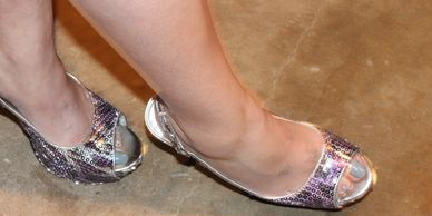 Tailz in some nice sparkly open toed stilettos.