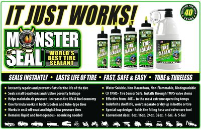 Monster Seal tire sealant product sizes and benefit bullet points sign.
