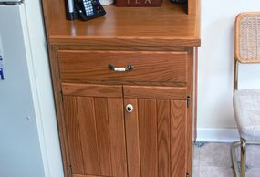 Custom made cabinet with wine rack and glass holder