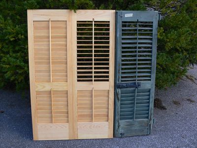 Louvered shutters. Moveable style. Made for county historic mansion.