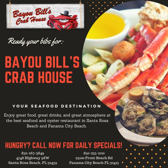Bayou Bills Crab House is partnered with Destin Jeep Rentals.