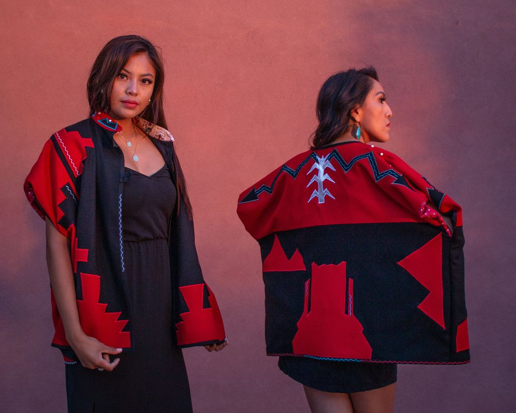Dine' Style Cape with the Mesa landscape and Bold Navajo geometric design . Made of Flannel Wool lig