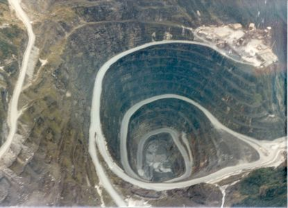 Aerial View of the Ertsberg pit in Indonesia