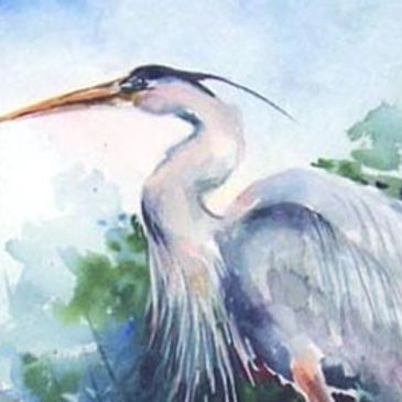 """Blue Heron"" Watercolor on Arches 140lb paper SOLD"