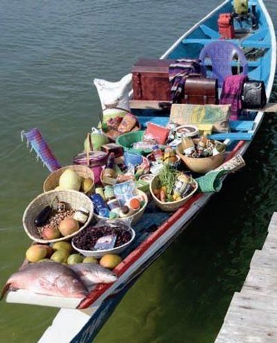 small boat with food