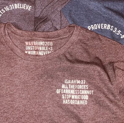 Custom word and verse shirts by Word & Verse Brand. Isaiah 14:27 and Acts 16:31 shirts by W&V