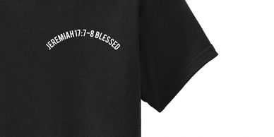 Bible shirt with a word and verse about blessed Jeremiah 17:7-8 by Word & Verse brand.