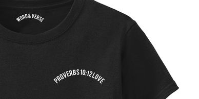 Bible verse shirt with a word and verse about love Proverbs 10:12 by Word & Verse brand.