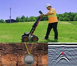 Ground penetrating radar showing a hyperbola and a buried utility.