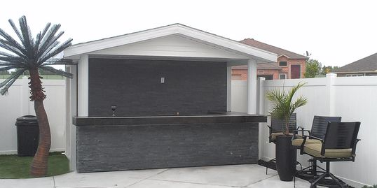 Custom built pool house in Windsor Ontario with an outdoor bar