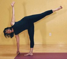 Ardha Chandrasana, Half moon pose. Essential continuing standing pose. Tones lower region of the spine, can eliminate sciatica issues and lower backaches, stabilizes balance and tones legs and abdominals.