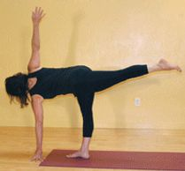 Parivrtta Ardha Chandrasana, revolved half moon pose. Continuing to intermediate standing twist. Strengthens legs and spine while increasing flexibility in the spine and ribs cage. Increases balance and focuses the mind.