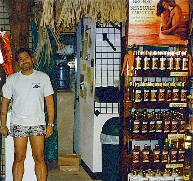 Keith Charney, creator of BRONZO SENSUALÉ® (Sensuous Suntan), at one of his South Beach stores.
