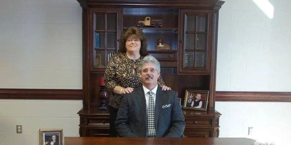 Sweetie and I, in the New Church building at Liberty Baptist Church in Painter AL. Oct. 2011