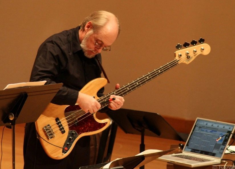 Brian Belet performing Still Harmless Bassically, on electric bass and Kyma.
