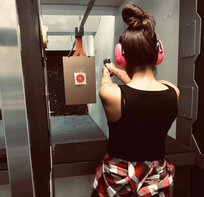 Here is @missmopar7172 taking aim in the pistol range!!