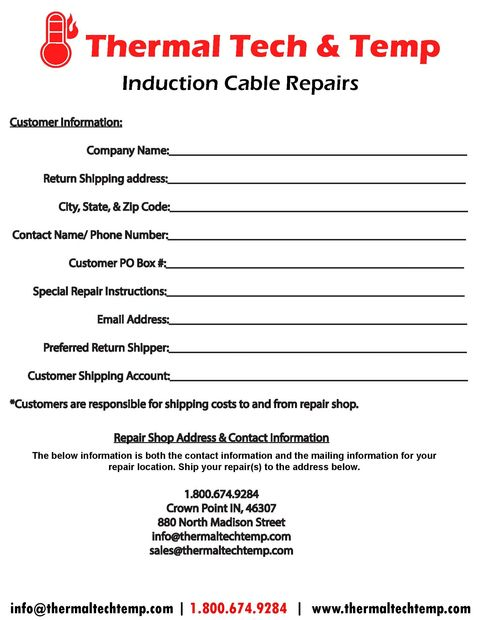 induction cable repair form
