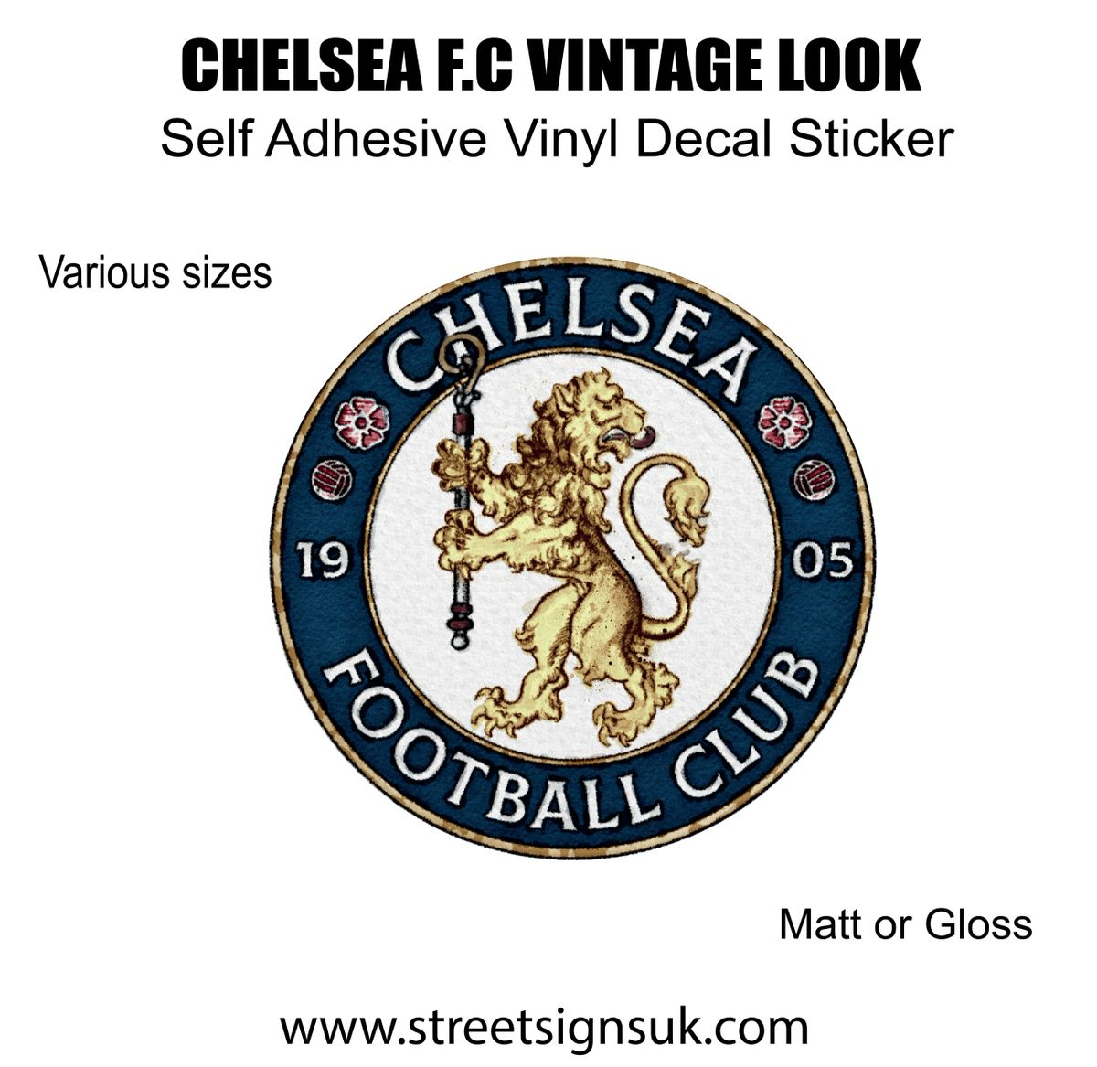 Vintage Chelsea F C Self Adhesive Vinyl Car Sticker Scooter Decal Wall Art [ 1167 x 1200 Pixel ]