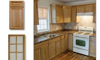 All wood oak cabinets