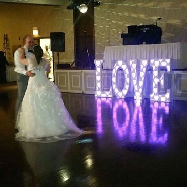 Our beautiful LED light up marquee letters leave a beautiful shine on the dance floor or light up part of the room. The colors can be one stationary color, scroll through colors or be set to change to the beat of the music.