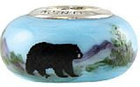 Adk Black Bear Glass Bead fits Pandora, Trollbeads, Lake Placid, Adirondack, bead, adk jewelry