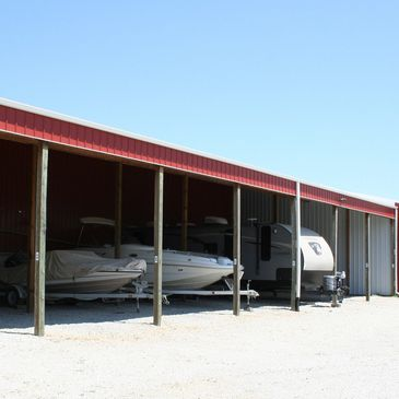 3-sided medium and large open storage units with gravel floor for boats, campers, RVs, motorhomes