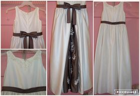 Brown and white flower girl dress