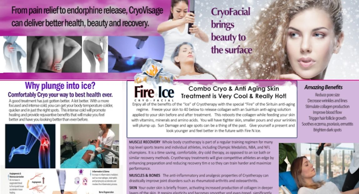 CRYOVISAGE ANTIAGING FACIAL ACTIVATES CELLULAR TURNOVER , TIGHTER PORES,SKIN IS BRIGHTER & TIGHTER