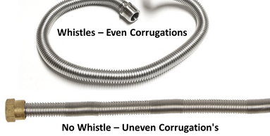 "whistle free hoses have alternations in the ""skin"" or mixed corrugations on the exterior of the hose"
