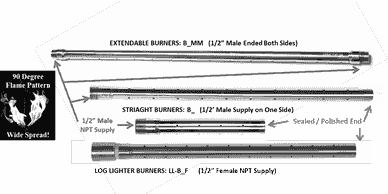 Linear Straight Gas Burners, Log Lighter Burner Replacement, Extendable Gas Burner; 316 Stainless