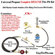 EasyFirePits.com CK+ Deluxe LP DIY Gas Fire Pit Kit w/ Key Valve Flame On/ Off/ Intensity Control